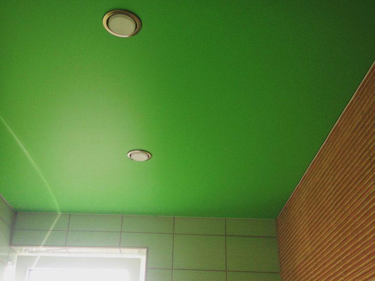 зеленый натяжной потолок в санузле